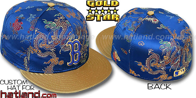 Red Sox 'SATIN DRAGONS' Royal-Gold Fitted Hat by New Era : pictured without stickers that these products are shipped with