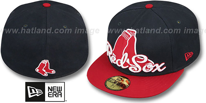 Red Sox 'SCRIPT-PUNCH' Navy-Red Fitted Hat by New Era : pictured without stickers that these products are shipped with