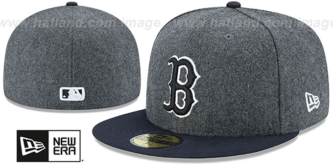 Red Sox 'SHADER MELTON' Grey-Navy Fitted Hat by New Era : pictured without stickers that these products are shipped with