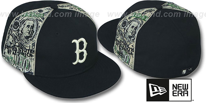 Red Sox 'SHOWMEDA$' Black-Money Fitted Hat by New Era : pictured without stickers that these products are shipped with