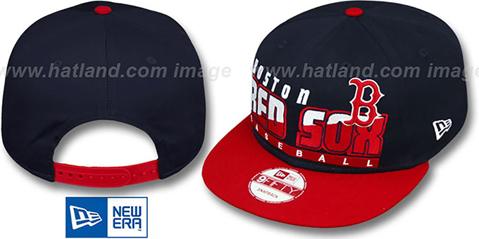 Red Sox 'SLICE-N-DICE SNAPBACK' Navy-Red Hat by New Era : pictured without stickers that these products are shipped with