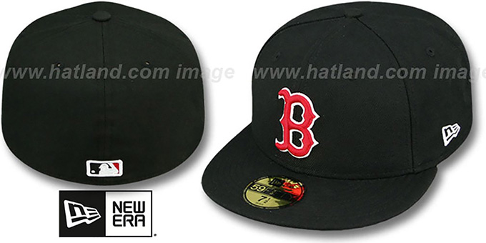 Red Sox 'SOLID TEAM-BASIC' Black-Red Fitted Hat by New Era : pictured without stickers that these products are shipped with