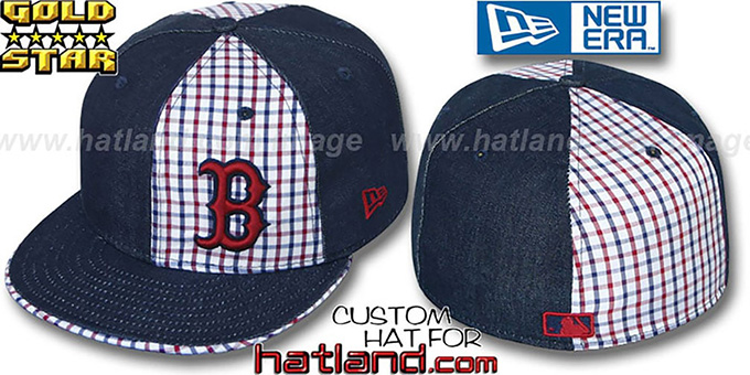 Red Sox 'SOUTHPAW SLUGGA' Plaid-Navy Denim Fitted Hat by New Era : pictured without stickers that these products are shipped with