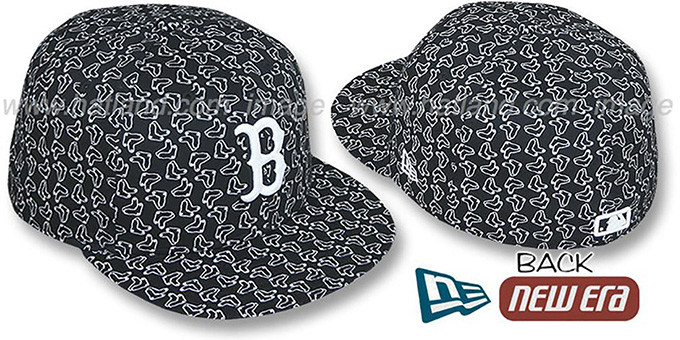 Red Sox SOX 'ALL-OVER FLOCKING'-2 Black-White Fitted Hat by New Era : pictured without stickers that these products are shipped with