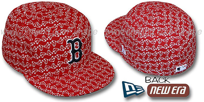 Red Sox SOX 'ALL-OVER FLOCKING'-2 Red Fitted Hat by New Era : pictured without stickers that these products are shipped with