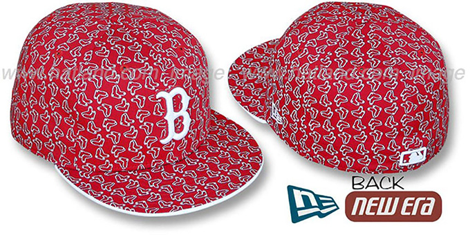 Red Sox SOX 'ALL-OVER FLOCKING' Red-White Fitted Hat by New Era : pictured without stickers that these products are shipped with