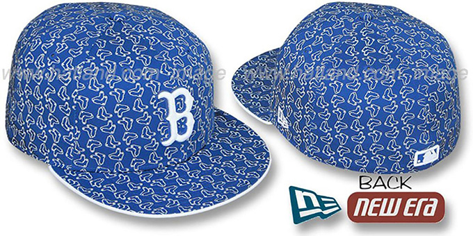 Red Sox SOX 'ALL-OVER FLOCKING' Royal-White Fitted Hat by New Era : pictured without stickers that these products are shipped with
