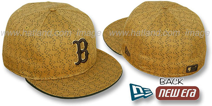 Red Sox SOX 'ALL-OVER FLOCKING' Wheat-Brown Fitted Hat by New Era : pictured without stickers that these products are shipped with