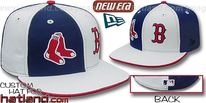 Red Sox SOX 'DOUBLE WHAMMY' Navy-White Fitted Hat : pictured without stickers that these products are shipped with