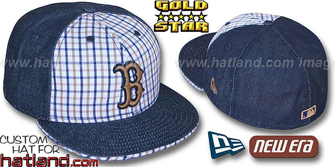 Red Sox SPANKY Plaid-Navy 'DENIM' Fitted Hat by New Era : pictured without stickers that these products are shipped with
