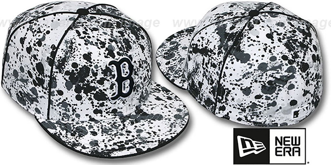 Red Sox 'SPLATTER' White-Black Fitted Hat by New Era : pictured without stickers that these products are shipped with