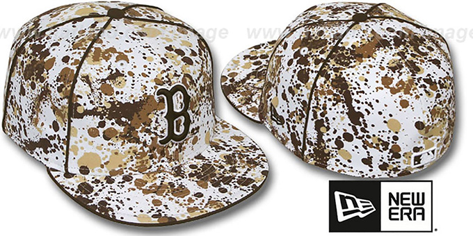 Red Sox 'SPLATTER' White-Brown Fitted Hat by New Era : pictured without stickers that these products are shipped with