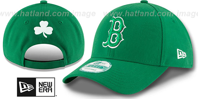 Red Sox 'ST PATRICKS DAY' Green Strapback Hat by New Era : pictured without stickers that these products are shipped with