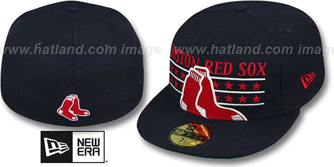 Red Sox 'STAR STUDDED' Navy Fitted Hat by New Era : pictured without stickers that these products are shipped with