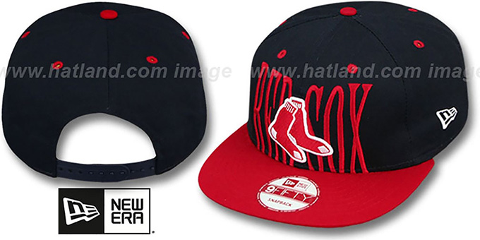 Red Sox 'STEP-ABOVE SNAPBACK' Navy-Red Hat by New Era : pictured without stickers that these products are shipped with