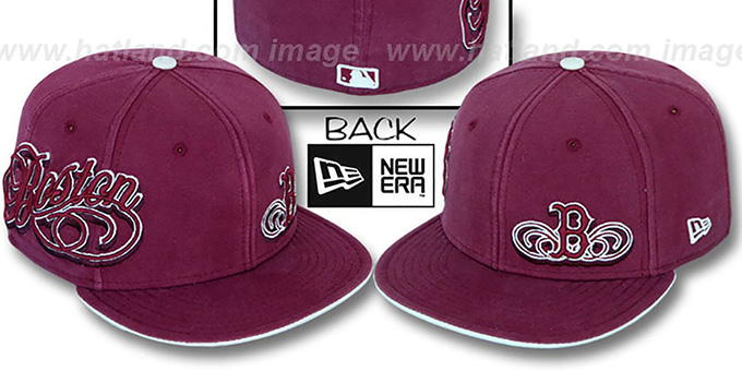 Red Sox 'SULTAN' Burgundy Fitted Hat by New Era : pictured without stickers that these products are shipped with