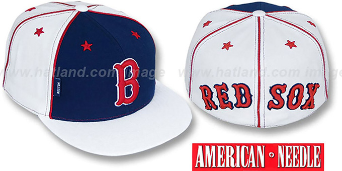 Red Sox 'SUPERFLY' Navy-White Fitted Hat by American Needle : pictured without stickers that these products are shipped with