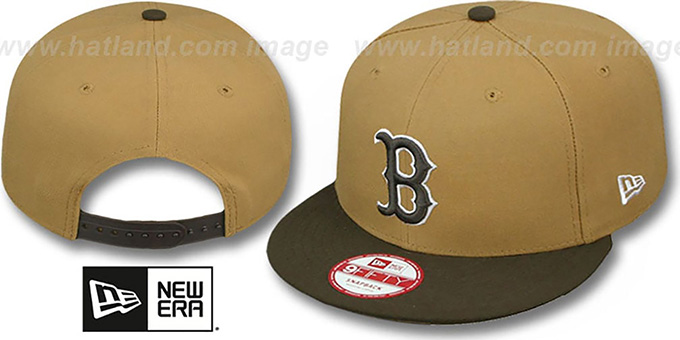 Red Sox 'TEAM-BASIC SNAPBACK' Wheat-Brown Hat by New Era : pictured without stickers that these products are shipped with
