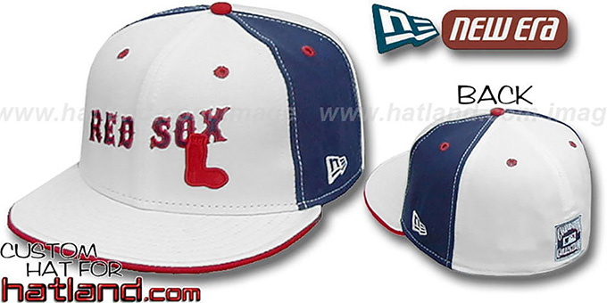 Red Sox 'TEAM-UP PINWHEEL' White-Navy Fitted Hat by New Era : pictured without stickers that these products are shipped with