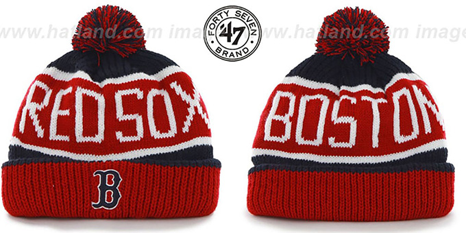 Red Sox 'THE-CALGARY' Red-Navy Knit Beanie Hat by Twins 47 Brand : pictured without stickers that these products are shipped with
