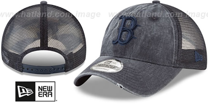 Red Sox 'TONAL-WASHED TRUCKER SNAPBACK' Navy Hat by New Era : pictured without stickers that these products are shipped with