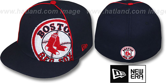Red Sox 'TRIBULATOR' Navy Fitted Hat by New Era : pictured without stickers that these products are shipped with