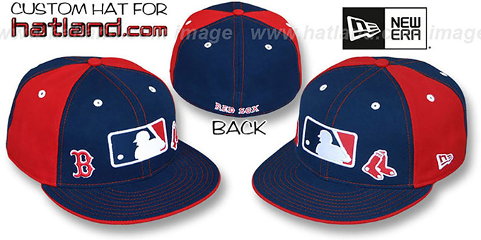 Red Sox 'TRIPLE THREAT' Navy-Red Fitted Hat by New Era : pictured without stickers that these products are shipped with