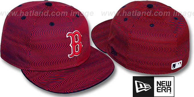 Red Sox 'TRIPPIN' Red-Navy Fitted Hat by New Era : pictured without stickers that these products are shipped with