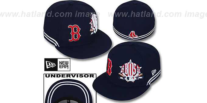 Red Sox 'TWO-BIT' Navy-White Fitted Hat by New Era : pictured without stickers that these products are shipped with