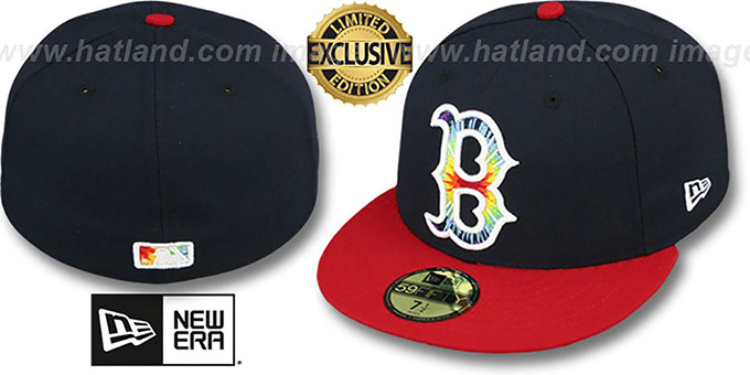 Red Sox 'TYE-DYE INSIDER' Navy-Red Fitted Hat by New Era : pictured without stickers that these products are shipped with
