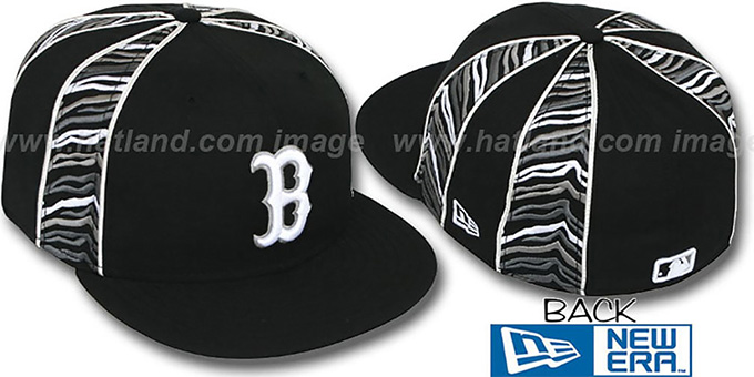 Red Sox 'URBAN JUNGLE' Black Fitted Hat by New Era : pictured without stickers that these products are shipped with