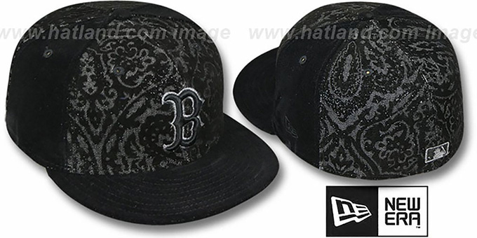 Red Sox 'VELVET PAISLEY' Black Fitted Hat by New Era : pictured without stickers that these products are shipped with