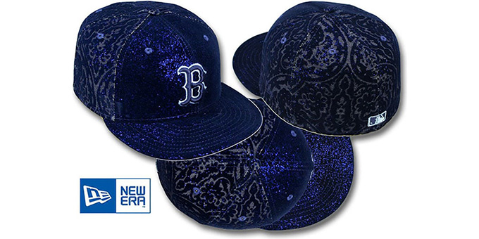 Red Sox 'VELVET PAISLEY' Navy Fitted Hat by New Era : pictured without stickers that these products are shipped with