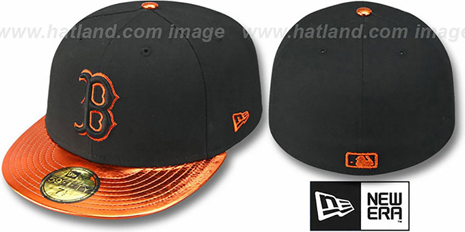 Red Sox 'VIZATION' Black-Orange Fitted Hat by New Era : pictured without stickers that these products are shipped with