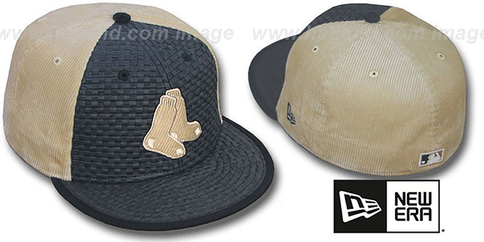 Red Sox 'WEAVE-N-CORD' Fitted Hat by New Era - black-tan : pictured without stickers that these products are shipped with