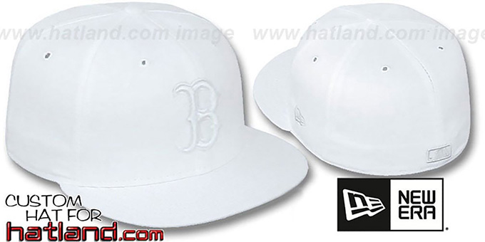 Red Sox 'WHITEOUT' Fitted Hat by New Era : pictured without stickers that these products are shipped with