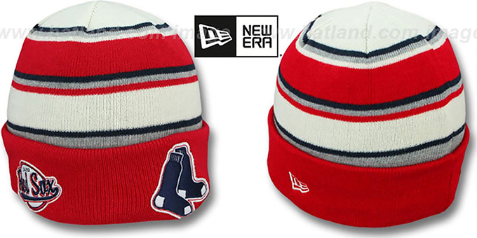 Red Sox 'WINTER TRADITION' Knit Beanie Hat by New Era : pictured without stickers that these products are shipped with