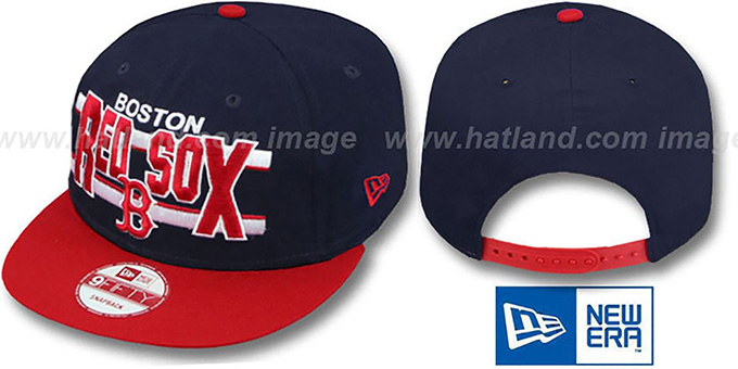 Red Sox 'WORDSTRIPE SNAPBACK' Navy-Red Hat by New Era : pictured without stickers that these products are shipped with