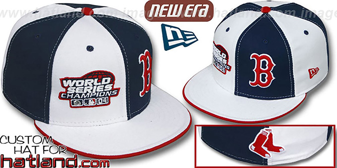 Red Sox 'WS CHAMPS' DOUBLE WHAMMY White-Navy Fitted Hat : pictured without stickers that these products are shipped with
