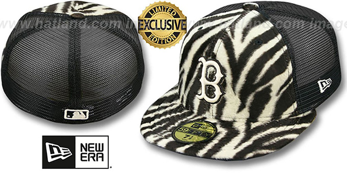 Red Sox ZEBRA 'ANIMAL-FUR MESH-BACK' Fitted Hat by New Era : pictured without stickers that these products are shipped with