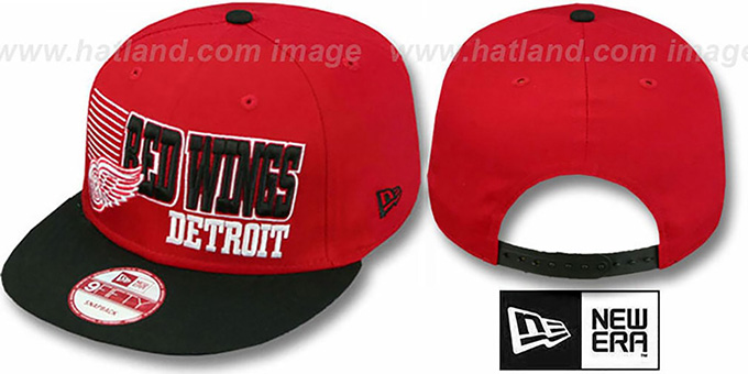 Red Wings '2T BORDERLINE SNAPBACK' Red-Black Hat by New Era : pictured without stickers that these products are shipped with