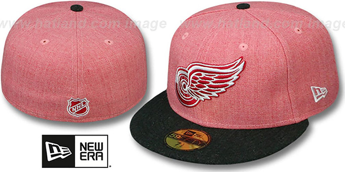 Red Wings '2T-HEATHER ACTION' Red-Charcoal Fitted Hat by New Era : pictured without stickers that these products are shipped with