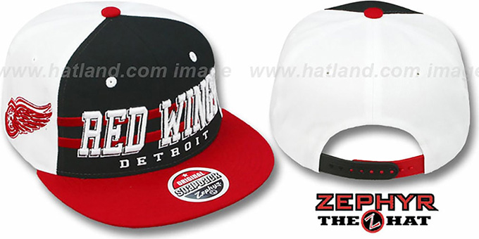 Red Wings '2T SUPERSONIC SNAPBACK' Black-Red Hat by Zephyr : pictured without stickers that these products are shipped with