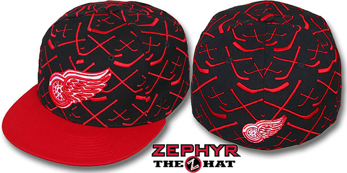 Red Wings '2T TOP-SHELF' Black-Red Fitted Hat by Zephyr : pictured without stickers that these products are shipped with