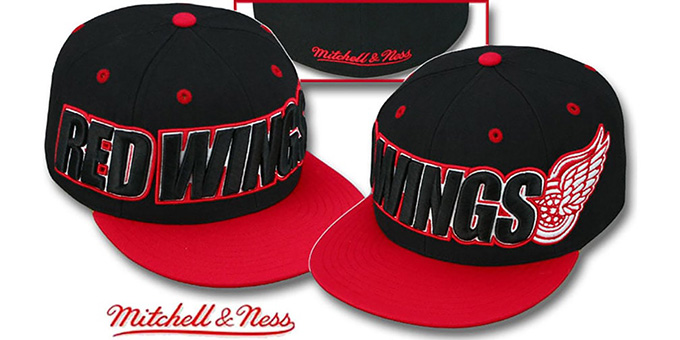 Red Wings '2T WORDMARK' Black-Red Fitted Hat by Mitchell & Ness : pictured without stickers that these products are shipped with