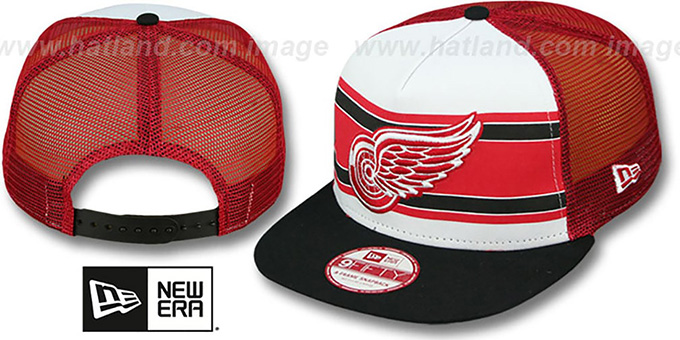 Red Wings 'BAND-SLAP SNAPBACK' Hat by New Era : pictured without stickers that these products are shipped with
