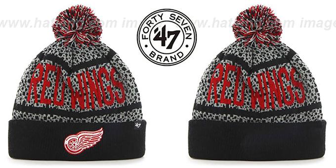 Red Wings 'BEDROCK' Black-Grey Knit Beanie Hat by Twins 47 Brand : pictured without stickers that these products are shipped with
