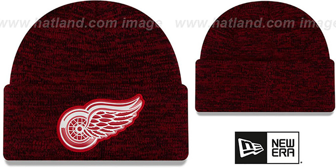 Red Wings 'BEVEL' Red-Black Knit Beanie Hat by New Era : pictured without stickers that these products are shipped with