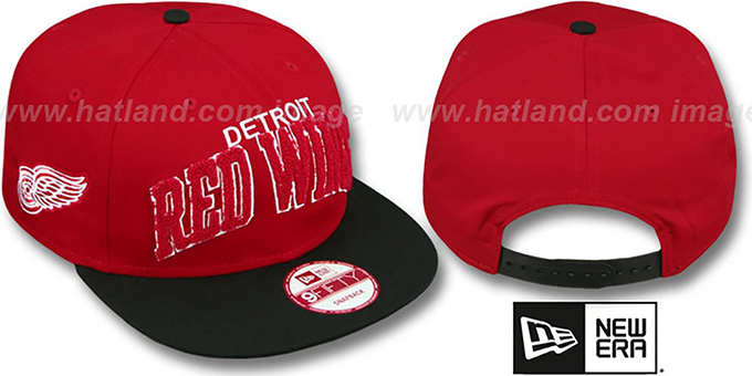 Red Wings 'CHENILLE-ARCH SNAPBACK' Red-Black Hat by New Era : pictured without stickers that these products are shipped with