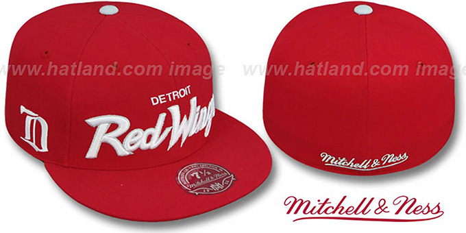 Red Wings 'CLASSIC-SCRIPT' Red Fitted Hat by Mitchell & Ness : pictured without stickers that these products are shipped with
